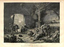 Le lendemain de Waterloo Guerre Napoléon Tableau d'Émile Bayard GRAVURE 1876