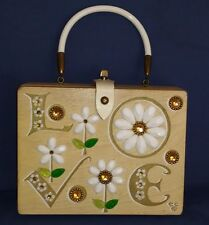 "Vintage ENID COLLINS Tx Wooden Jewel Rhinestone ""LOVE"" Flowers Box Purse Signed"