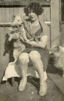 VINTAGE DOG PUPPY PRETTY WOMAN CUTE ARTISTIC PHOTO VERNACULAR PHOTOGRAPHY FUN