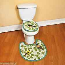 Green Blue Spring Songbird Bird Branch Leaf Bath Toilet Rug Mat Set Decor