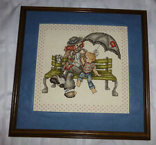 Framed Finished Cross Stitch Clown & Boy Park Bench  Ice Cream Cone Umbrella
