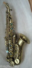 Eastern music antique bronze color curved Soprano Saxophone sax Italy Pisoni pad
