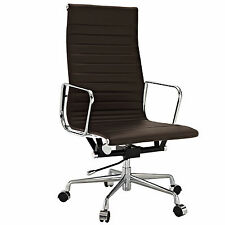 Eames Style Office Chair Execu Reproduction High Back Ribbed Dark Brown Leather