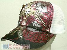 878df51135a RHINESTONE BLING SATIN CROSS PRAYING SKULL BOBWIRE TRUCKER MESH CAP HAT  SNAPBACK