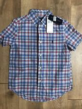 Polo Ralph Lauren Boys Button Front Plaid Shirt Short Sleeve Size 7 NWT Red Blue