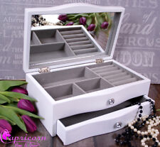 White Wooden Jewelery Box Display Drawer mirror Large New Jewellery Present 04w