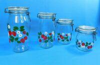 4 Carlton Ermetico Glass Canister Jars Wire Clamp Lid Strawberry 3/4L 1L 1.5L 2L