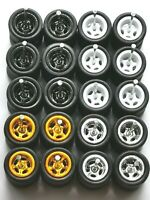HOT WHEELS REAL RIDERS WHEELS RUBBER TIRES 5 SPOKE 10MM 10 SETS MIX COLORS