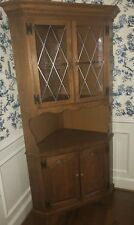 Ethan Allen Corner China Cabinet 10 6046 Heirloom Nutmeg Maple Grilled Glass