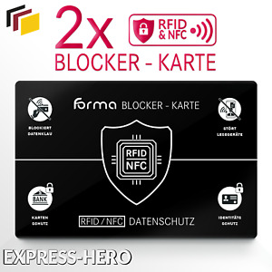 RFID Blocker Karte Kreditkarte EC Karte Schutz NFC Schutzkarte Blocking Card 2x