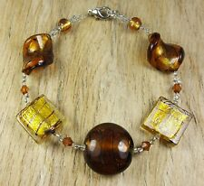 *Freedom Tree* Amber Gold  Silver Foil Murano Glass Bead Bracelet