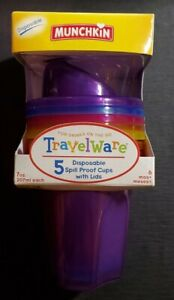 """New """"Munchkin Travelware 5 Pack Spill Proof Cups With Lids"""" 5 Colors 6 Mth+ 7 oz"""
