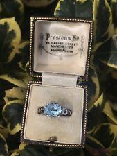 9ct White Gold Blue Topaz & Diamond Ring (Size N) Fully Hallmarked