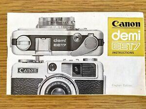 1966 CANON DEMI EE17 FILM CAMERA vintage booklet INSTRUCTIONS MANUAL - 35 mm SLR