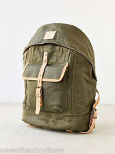 NWT WILL Leather Goods Wax Coated Leather Trim Dome Backpack (Olive) RRP $250