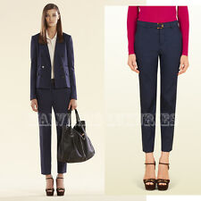 $950 GUCCI PANTS NAVY BLUE LINEN COTTON HOLIDAY TROUSERS BAMBOO BUCKLE 40 US 4