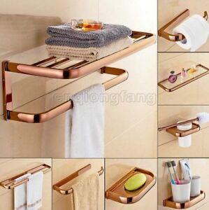 Rose Gold Brass Bathroom Hardware Accessory Set Towel Bar Hook Ring Holder Cxz10