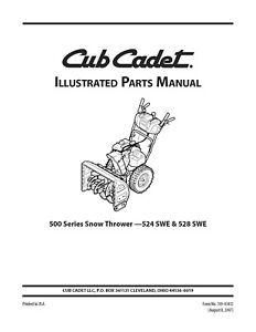 Cub Cadet 524 SWE 528 SWE Snow Thrower Parts Manual