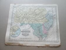 "(1) 1860 ""Map Of Nj., Pa., De., & Md."" Francis McNally'S ""System Of Geography"""