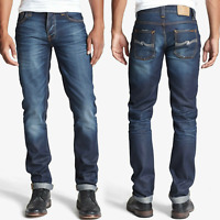 Nudie Herren Slim Straight Fit Jeans Hose | Grim Tim Steely Blues | W30 L34