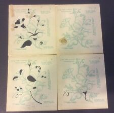 VTG 1952 Polly-Dell Stencils #21162 Morning Glories 4 Pieces Videll Dougherty