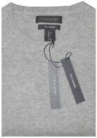 TAHARI HEATHER LIGHT GRAY PLUSH 100% CASHMERE CREW NECK SWEATER JUMPER M