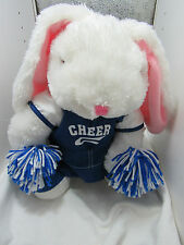 "Dan Dee Cheerleader Bunny Rabbit Plush 15"" Stuffed Animal White Blue Pom Poms"