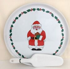 The Holiday Collection Ceramic Cake Plate and Server Santa Christmas
