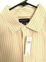 New Banana Republic Mens Size XL Beige Striped Long Sleeve Button Up Dress Shirt