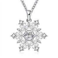 1 ct Created White Sapphire Snowflake Pendant in Silver