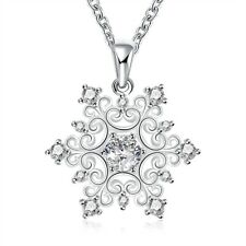 1 ct Created White Sapphire Snowflake Pendant in Sterling Silver