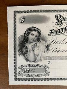 American Bank Note Co NY proof 1880s Bates County National Bank Butler MO erotic