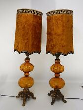Pair Vintage Hollywood Regency Amber Table Lamps Velvet Shades Accurate Cast NY.