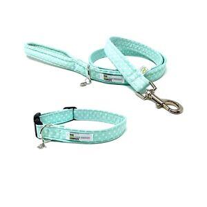 Mint Green Polka Dot Dog Collar and Optional Matching Lead Set