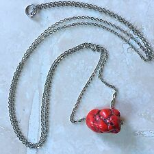 """Red Howlite Necklace Nugget-Shaped Stone Pendant on 30"""" Stainless Steel Chain"""