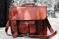 Bag Leather Shoulder Brown  Messenger  Laptop Bag Briefcase Men's Genuine