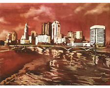 Ohio State University- Columbus, OH skyline in OSU colors.  Watercolor print