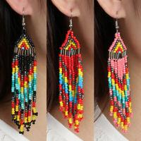 1 Pair  Multicolour Seed Beaded Earrings Bohemian Long Drop Dangle Handmade /