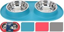 2 Dog Bowls with Silicone Feeding Mat Holder Pet Bowls Cat Bowls Water Bowls