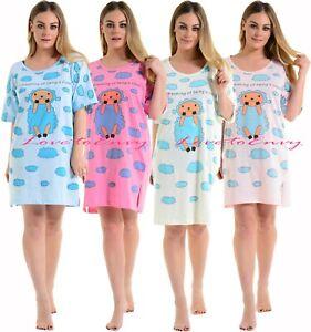 Ladies Nightwear 'Im Dreaming of being a Cloud' Cotton Short Sleeve Nightie