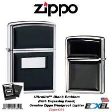 Zippo 355, Ultralite Black Emblem Lighter, Genuine Usa Windproof