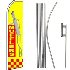 Mufflers Yellow / Red Swooper Flag & 16ft Flagpole Kit/Ground Spike