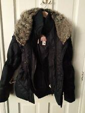 Khujo Blue Jacket  Faux Fur Collar  Puffa Jacket Coat Sz Medium