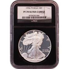 1996 P Proof American Silver Eagle NGC PF70 One Dollar Coin Black Core