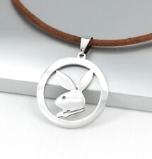 Silver Playboy Bunny Rabbit Animals Pendant 3mm Brown Leather Choker Necklace