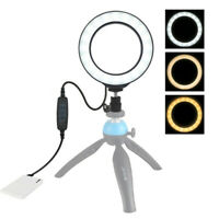 Dimmable LED Studio Camera Ring Phone Video Light Lamp Selfie Stick Ring Table.