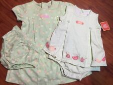 Just One Year by Carters Girls Lot of 2 Green One Piece Dresses Size 9-18 Months