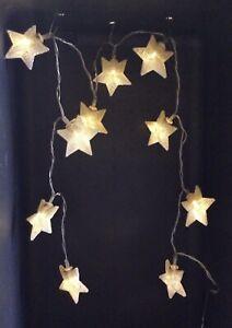 Gisela Graham String of 10 Metal Stars LED  Battery Fairy Lights Free Post New