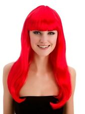 Adulti Donna Lungo Rosso Infuocato Fantasy Parrucca Con Frangia Halloween Ariel