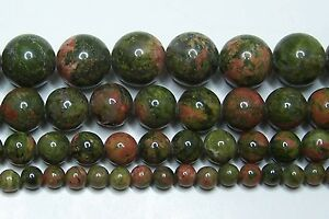 """Unakite Beads 2mm-3mm-4mm-6mm-8mm-10mm-12mm Real Stone 15.5"""" Strand"""